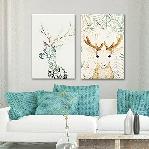 2 Panel Deer with Floral Pattern x 2 Panels …