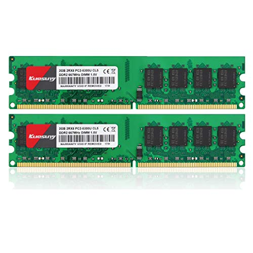 K4GB Kit (2GBX2) DDR2 667 DIMM RAM, Kuesuny PC2-5300/PC2-5300U CL5 240-Pin Non-ECC Unbuffered Desktop Memory Modules