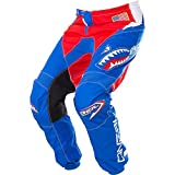 O'Neal Kids/Youth Element Afterburner Blue/Red/White motocross MX off-road dirt bike Jersey Pants combo riding gear set (Pants 12/14 (26)/Jersey Kids Large)