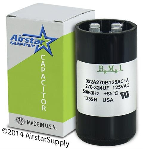 270-324 uF x 110 / 125 VAC • Dayton Grainger 6FLK4 Start Capacitor • BMI Replacement # 092A270B125AC1A • Made in the USA