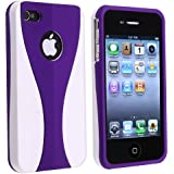 Snap-on Case Compatible with Apple iPhone 4 / 4S, Dark Purple / White Cup Shape