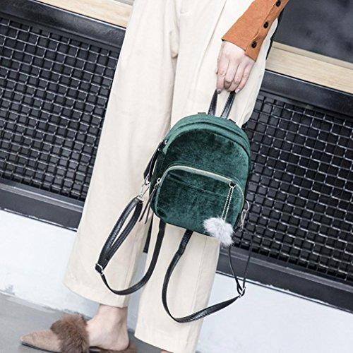 Mini Fashion Pom Velvet Shoulder Travel Girls Pom Bags School Gift Bag LMMVP Ball by Green Fur Backpack Women S5wXEE