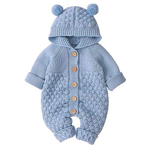 Tabpole Gebreide jumpsuit met capuchon voor baby pasgeboren peuter overall uit één stuk