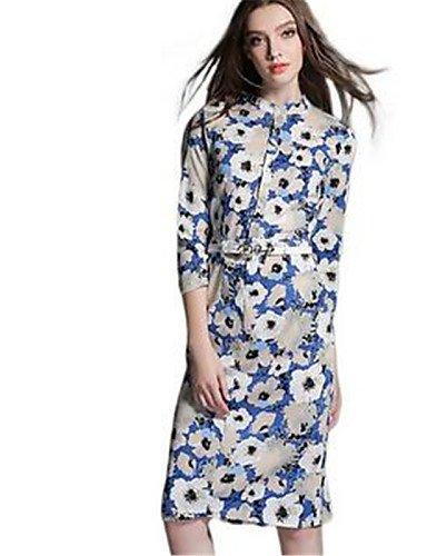 PU&PU Robe Aux femmes Moulante Simple,Fleur Col Arrondi Au dessus du genou Polyester , blue-xl , blue-xl