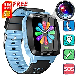 [Free SIM Card] Kids Smart Watch - Smart Phone Watch Call Anti-Lost 1.44'' Touch Screen Activity Sport Wearable with Game Digital SOS Camera Flashlight Novelty Birthday Gifts for 3-12 Year Boys Girls