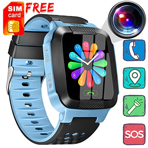 [Free SIM Card] Kids Smart Watch - Smart Phone Watch Call Anti-Lost 1.44'' Touch Screen Activity Sport Wearable with Game Digital SOS Camera Flashlight Novelty Birthday Gifts for 3-12 Year Boys Girls ()