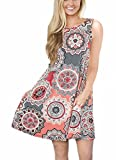 Andaa Womens Crew Neck Printed Sleeveless Casual Tunic Tops Summer Swing Tee Shirt Dress with Pockets (Gray, XL)