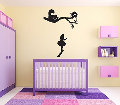 Wall Vinyl Sticker Alice in Wonderland Cheshire Cat Queen Of Heart White Rabbit Caterpillar Duchess Wall Vinyl Sticker Quote Phrase Fairy Tale Cartoon Character Girl Boy Nursery Kids Room Decor SA1623