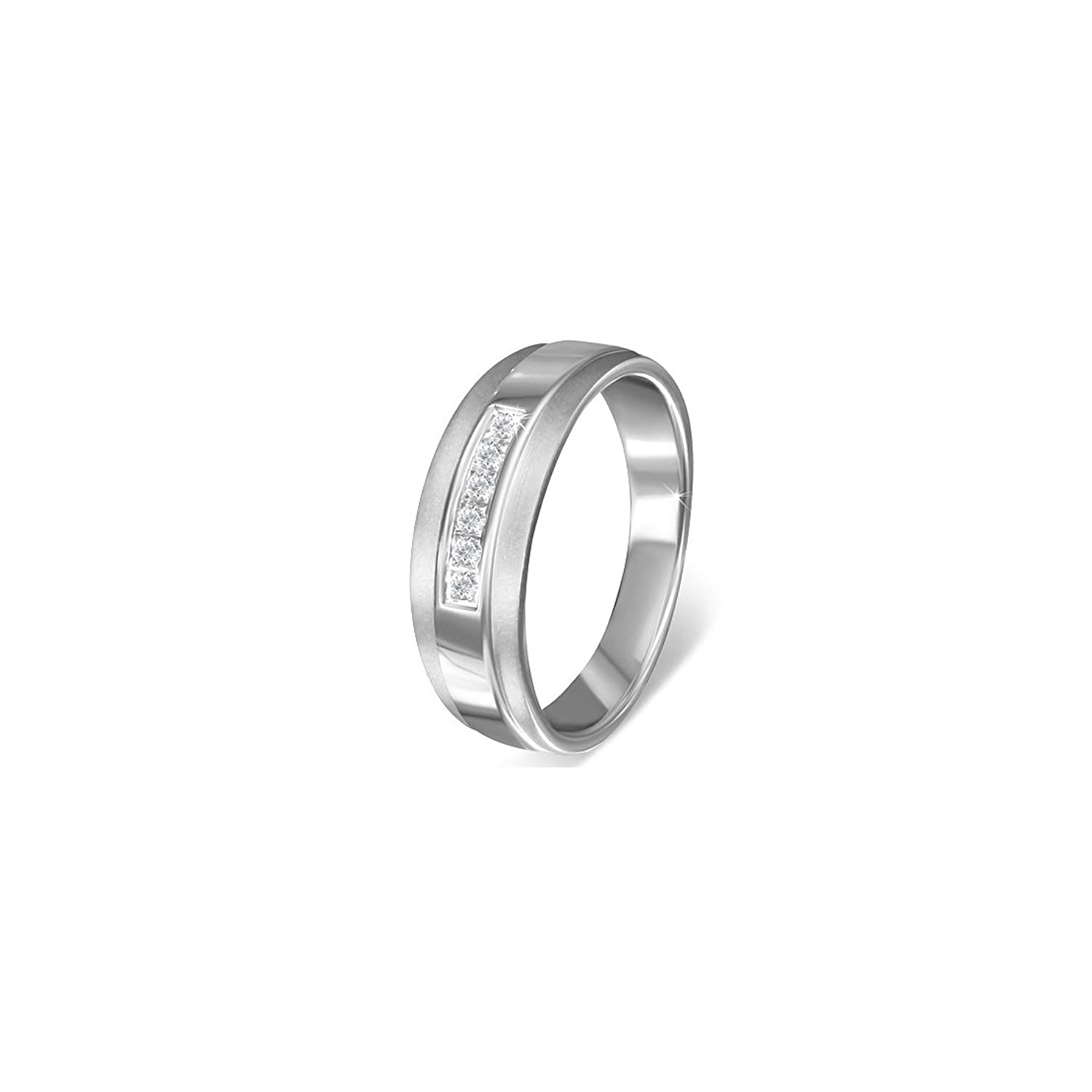 Stainless Steel Satin Finished Pave-Set Band Ring with Clear CZ