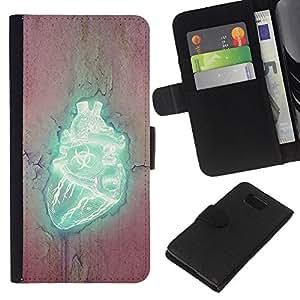 KLONGSHOP // Tirón de la caja Cartera de cuero con ranuras para tarjetas - Corazón Biohazard - Samsung ALPHA G850 //