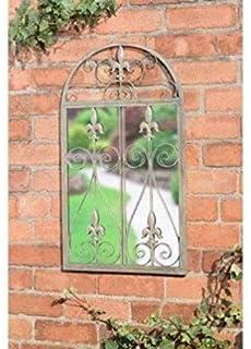 Giftwarez French Large Ornate Arched Metal Framed Door Outdoor