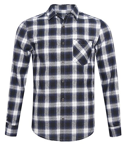 NUTEXROL Mens Long Sleeve Plaid Flannel Casual Shirts Checked Button Down Shirts,F-blue,X-Large (Patterned Flannel Plaid)