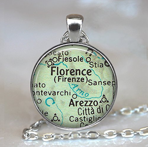 Florence, Italy map necklace, Florence necklace Florence map - Florence Jewelry