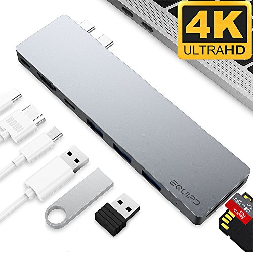 4K HDMI Combo Hub Adapter for MacBook Pro 13 & 15 2016/2017, EQUIPD Aluminum 8 in 1 USB Type C Charging Port, Thunderbolt 3 port, MicroSD/SDHC/SDXC Card Reader, 3 USB 3.0 Ports - Grey