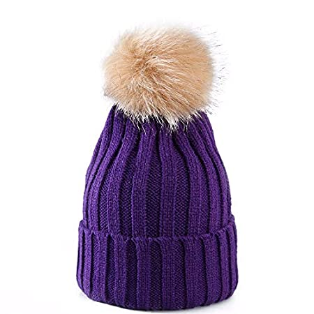Women Ladies Winter Pom Pom Hat Cosy Beanie Warm Winter Cap Pom Pom Bobble  Hat (PURPLE)  Amazon.co.uk  Kitchen   Home 216fa6b6e5e