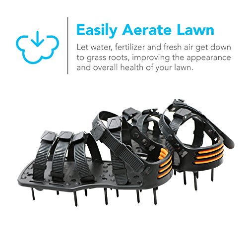 Sharkk Plastic Spiked Lawn Aerator Shoes – 5 STRAPS Universal Size with 3 Adjustable Straps and Metal Buckles – Heavy-Duty for Greener, Healthier Yard and Grass