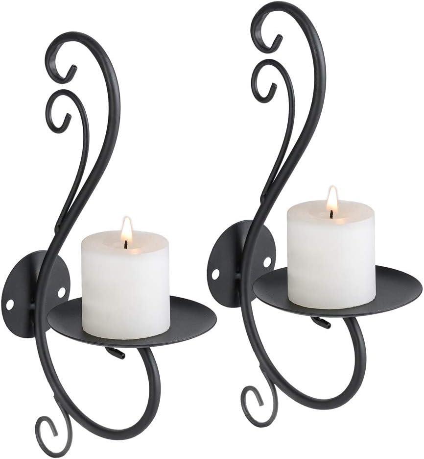 Sziqiqi Iron Vine Candle Sconces Wall Art Decoration Home Decoration Tealight Candle Stand (Black)