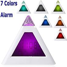 GigaMax(TM)Single 7 LED Color Changing Pyramid Digital LCD Alarm Clock Thermometer C/F Desktop Table Clocks Despertador Weather Station