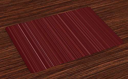 - Lunarable Maroon Place Mats Set of 4, Classical Striped Display with Thin Lines Modern Fashion Repetitive Abstract Pattern, Washable Fabric Placemats for Dining Room Kitchen Table Decoration, Maroon