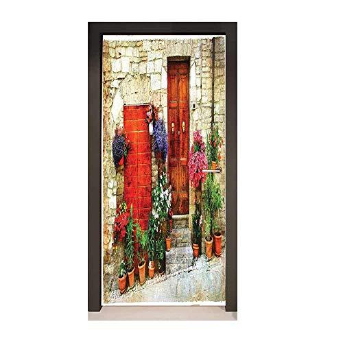 Tuscan 3D Door Wallpaper Colorful Flowers Outside Home in Italian Hilltown Assisi Rustic Door Image Decorative Door Sticker Ivory Orange Violet,W17.1xH78.7 ()