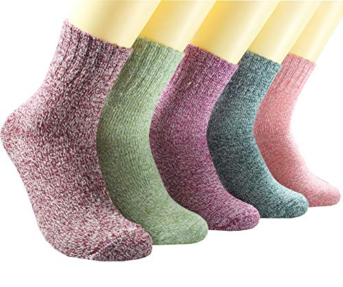 Tusong Womens Super Thick Wool Blend Crew Winter Socks 5-pack