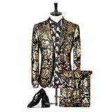 577Loby Men Suits For Wedding Black Gold Tuxedo Jacket Designer Suits