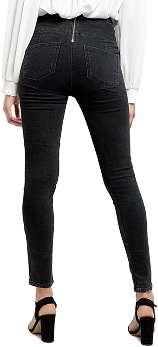 Ladies Ex NEW LOOK Yazmin High Waisted Skinny Black Lace Up Jeans Size 6