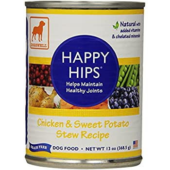 Dogswell Happy Hips for Dogs, Chicken & Sweet Potato Stew Recipe, 13-Ounce Cans (Pack of 12)