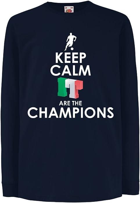 lepni.me Niños/Niñas Camiseta Los Italianos Son los campeones, el Campeonato de Rusia 2018, la Copa del Mundo de Fútbol, el Equipo de Aficionados de Italia