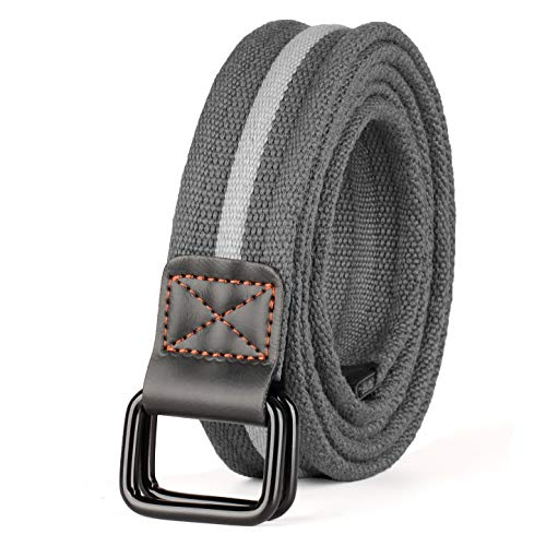 Drizzte Mens Plus Size 55'' Double D Ring Canvas Cloth Belts Grey