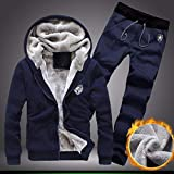 Faionny Men Tracksuit Warm Fleece Hooded Cardigan Coat Casual Sweatpants Hoodies+Pants Sweat Suit