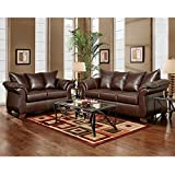 Flash Furniture Exceptional Designs Leather Living Room Set, Taos Mahogany