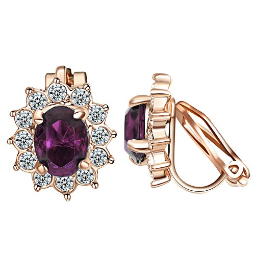 ings For Women Purple Crystal & Small Cubic zirconia Floral Clip Earrings ()