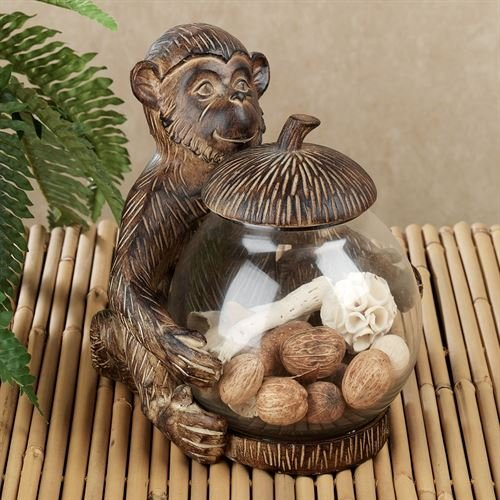 - Touch of Class Tropical Monkey Covered Jar Aged Brown