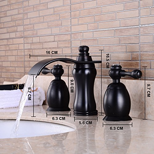 Wovier Oil Rubbed Bronze Waterfall Bathroom Sink Faucet,Two Handle Three Hole Lavatory Faucet,Widespread Basin Mixer Tap With Pop Up Drain,8 Inch Bathroom Faucet by Wovier