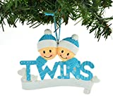 PERSONALIZED CHRISTMAS ORNAMENT TWINS BLUE TWO BOYS BROTHERS