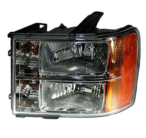 Headlight Headlamp Left Hand LH Driver Side for 07-13 GMC Sierra Pickup Truck (Left Side Headlight)