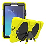 Crosstree High Impact Resistant Hybrid Three Layer Armor Defender Full Body Protective Case Cover for SM-T560, Samsung Galaxy Tab E 9.6 inch with Built in Kickstand (Yellow)