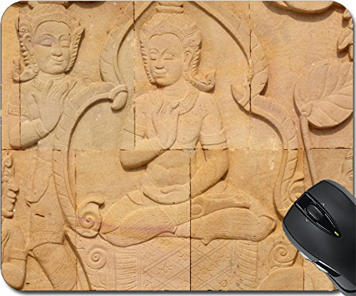 MSD Mousepad Mouse Pads/Mat design 28039378 thai style sandstone carving art on the wall temple (Figure Sandstone)