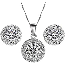 YiYi Operation Jewelry Sets Silver Necklace Earrings Chain Cubic Zirconia Women's Wedding