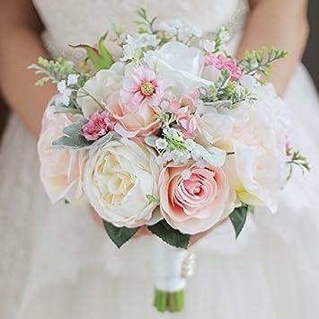 jolie et colorée Design moderne en soldes Iffo personnalisées mariée à la main tenant Bouquet Bouquet mariée mariée  Demoiselle d'honneur poignet Fleur Pivoine Fleur Pétale de rose Blanc ...