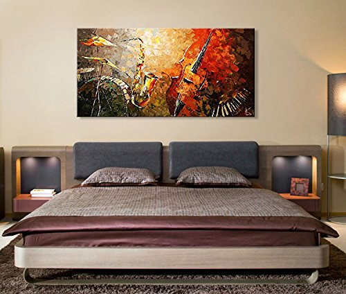 Everfun Art Hand Painted Oil Painting On Canvas Modern Music Instrument Wall Abstract Artwork Contemporary Hanging Ready To Hang Framed 4824 Inch