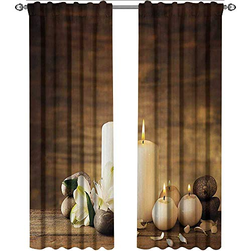 (shenglv Spa, Curtains Energy Efficient, Winter Valentines Day Couples Themed Candle Flowers and Stones Image Print, Curtains Kitchen, W84 x L96 Inch, White Black and Brown)