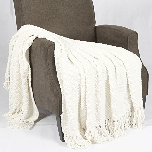 Tweed Knitted Throw Blanket, Antique White