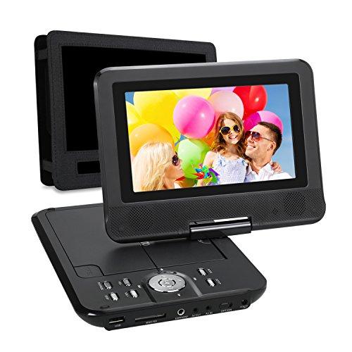 """NAVISKAUTO 7"""" HD DVD Player Kopfstützenmonitor 5 Stunden Abspielzeit mit Kopfstützenhalterung, drehbarem Display, eingebauter Batterie, unterstützt SD/USB , AV IN/OUT (PD0701,Schwarz)"""