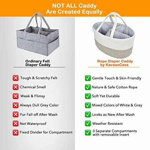 Baby Diaper Caddy Organizer - Changing Table Organizer Basket - Portable Rope Nursery Storage Bin with Removable Insert - Baby Shower Gift Basket - Newborn Registry Must Haves (Brown)