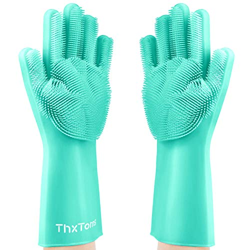 ThxToms Magic Silicone Scrubbing Gloves, Scrub Cleaning Gloves with Scrubber for Dishwashing and Pet Grooming, Latex Free (Teal, 1 Pair)