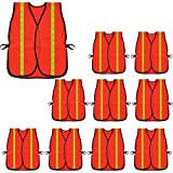 High Visibility Safety Vests 10 Packs,Adjustable Size,Lightweight Mesh Fabric, Wholesale Reflective Vest for Outdoor Works, Cycling, Jogging, Walking,Sports - Fits for Men and Women (Neon Orange)