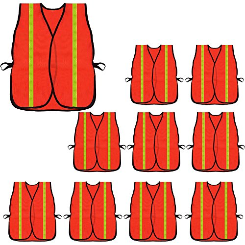 High Visibility Safety Vests 10 Packs,Adjustable Size,Lightweight Mesh Fabric, Wholesale Reflective Vest for Outdoor Works, Cycling, Jogging, Walking,Sports - Fits for Men and Women (Neon Orange) ()