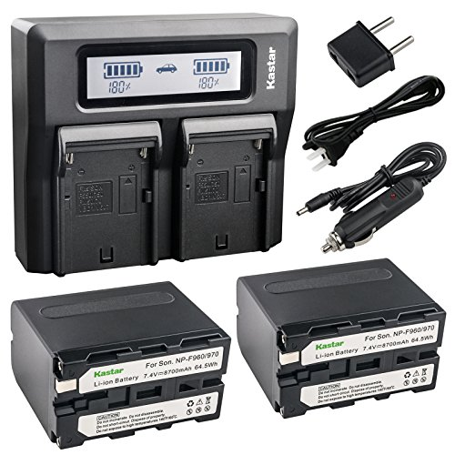 Kastar Fast Dual LCD Charger + 2x Battery for Sony NP-F970 NP-F975 NP-F960 NP-F950 NP-F930 NP-F770 NP-F750 NP-F730 NP-F570 NP-F550 NP-F530 NP-F330 and 308C TTV-204 Pad-22 LED Video Light or Moniter by Kastar
